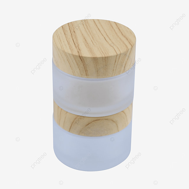 glass cosmetic container with wood grain lid