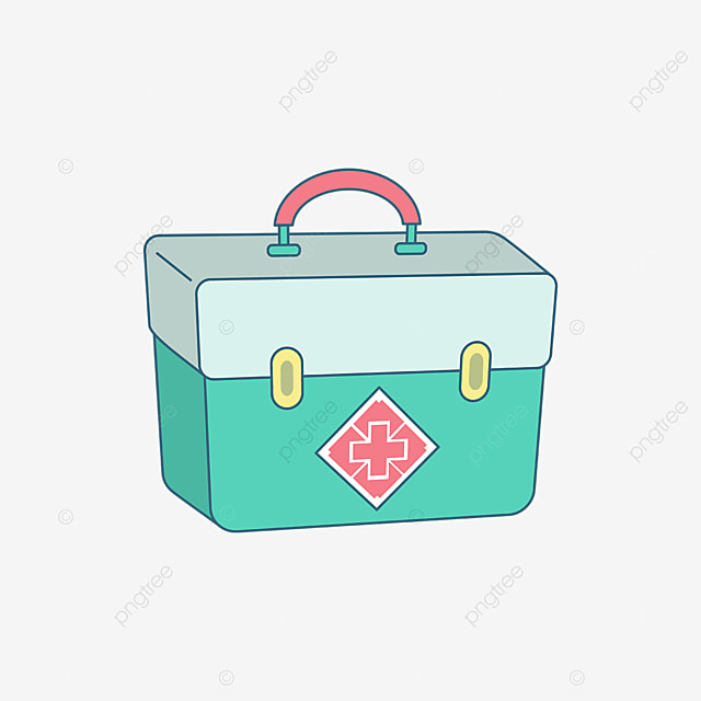 green double layer first aid kit clipart