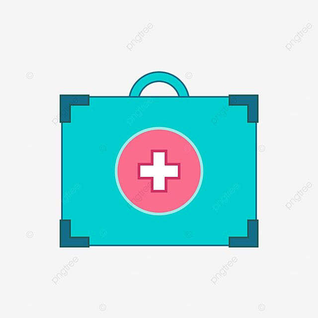 green pink first aid kit clipart