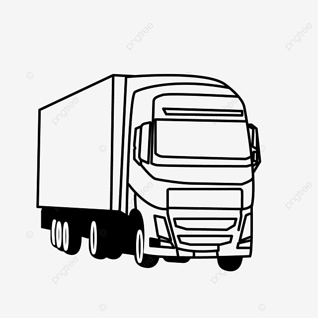 large cargo truck driving truck clipart black and white