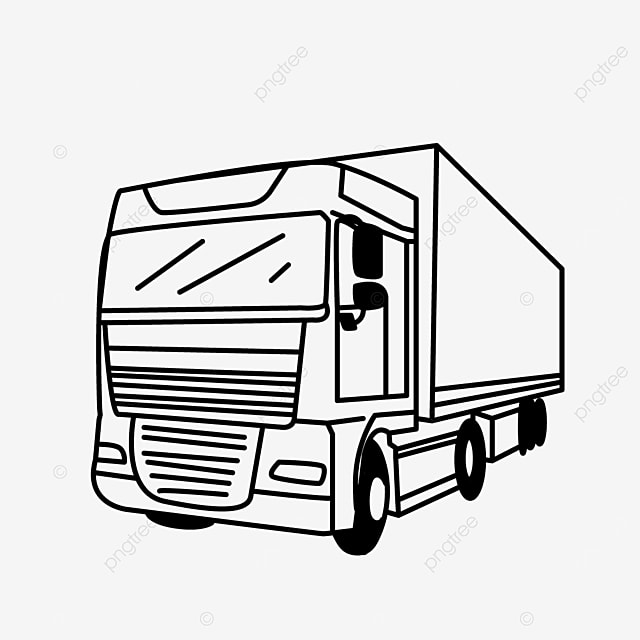 large transportation cargo mode truck clipart black and white