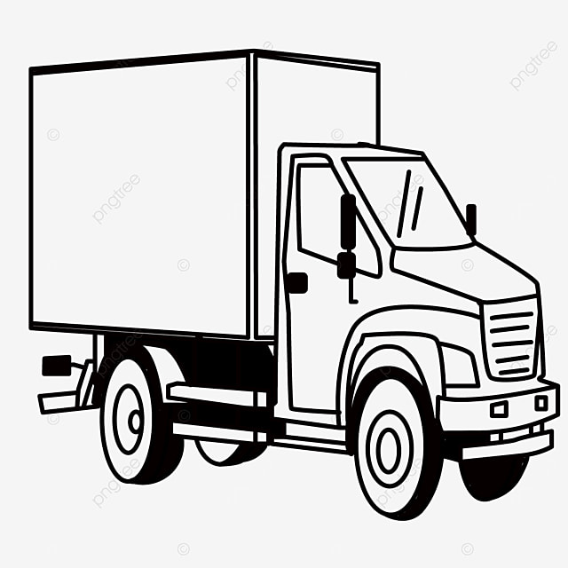 large truck driving truck clipart black and white