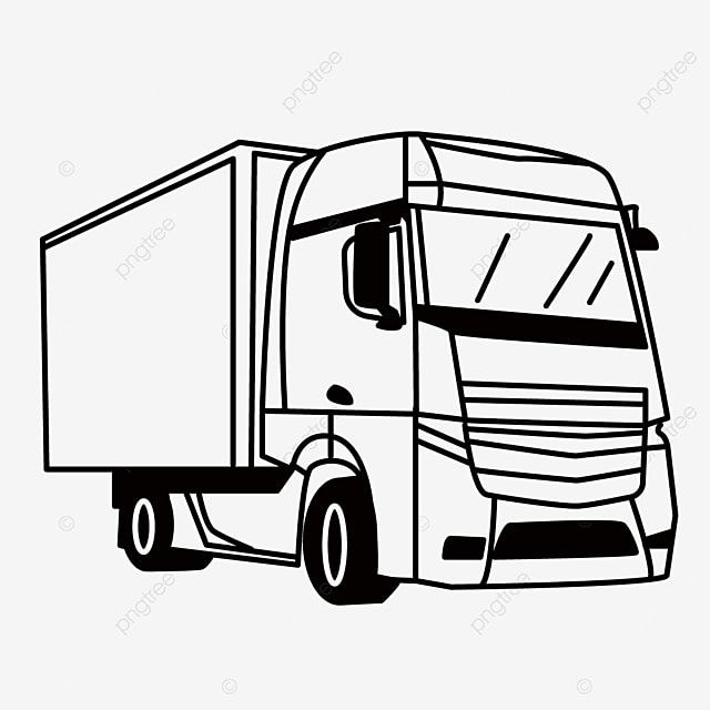 large truck transportation goods truck clipart black and white