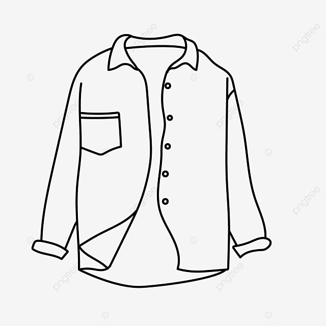 long sleeve lapel button pocket shirt clipart black and white