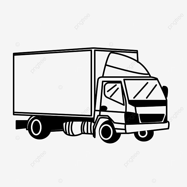 lorry container driving car transport truck clipart black and white