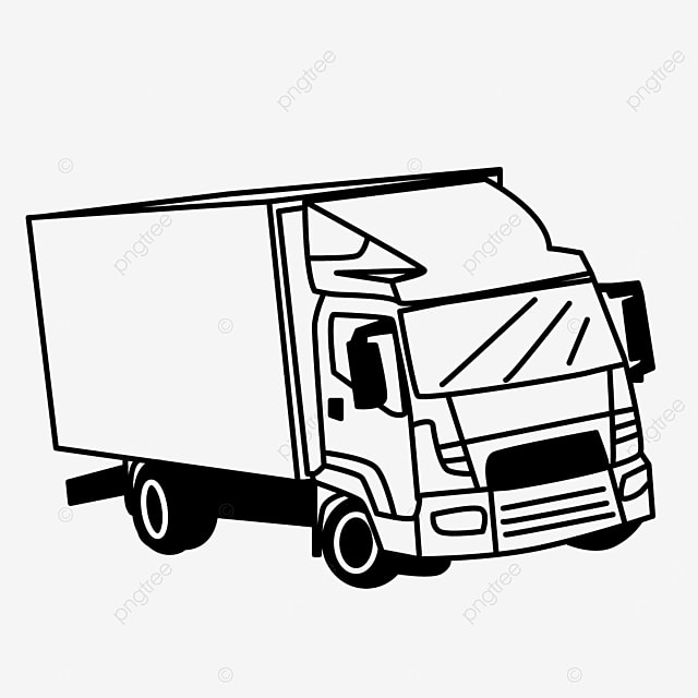 medium sized transport truck clipart black and white