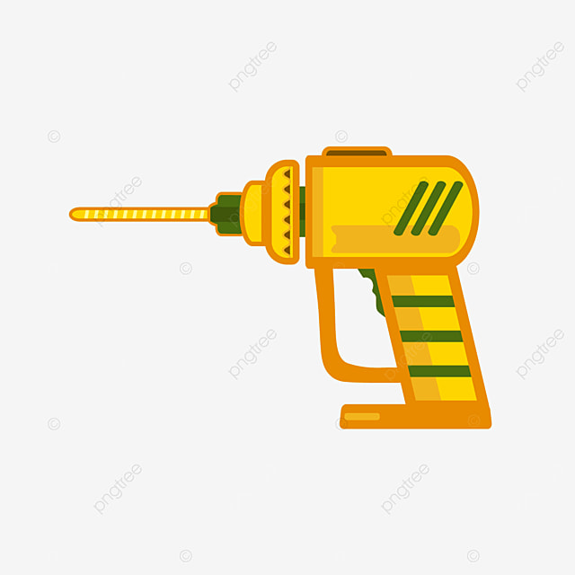 multifunctional handheld yellow drill bit clipart