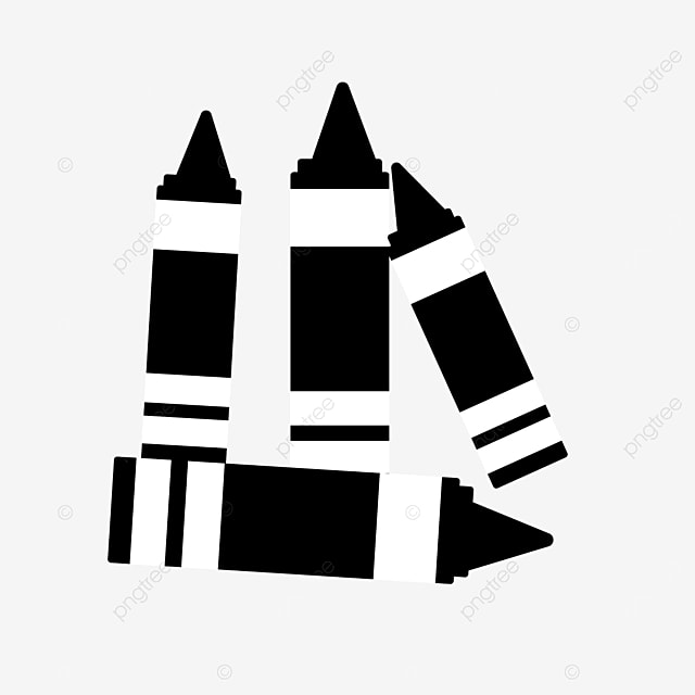 paint painting four crayons clipart black and white