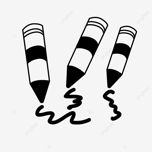 painting tools line crayons clipart black and white