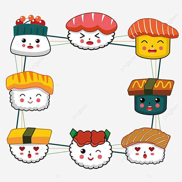 playful sushi border