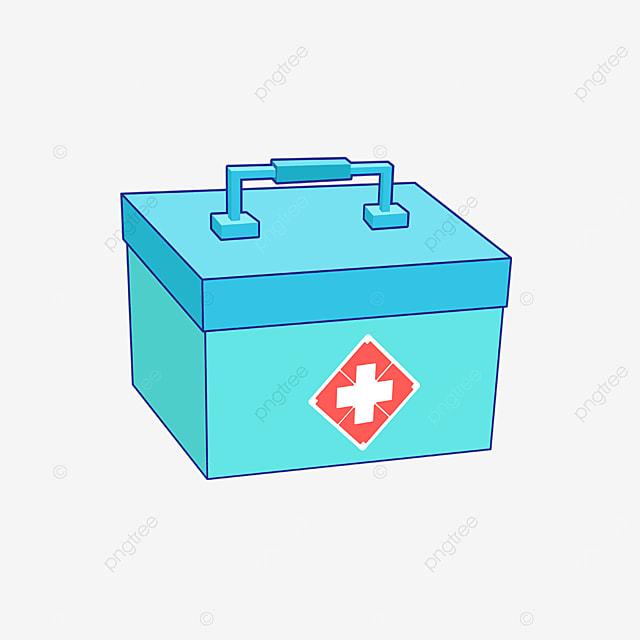 portable blue first aid kit clipart