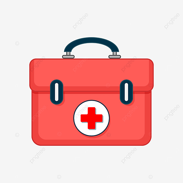 red first aid kit with handle clipart