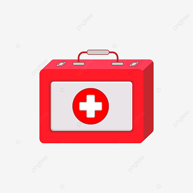 red gray first aid kit clipart