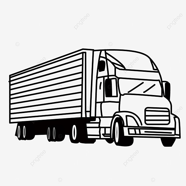 road driving large transportation truck clipart black and white