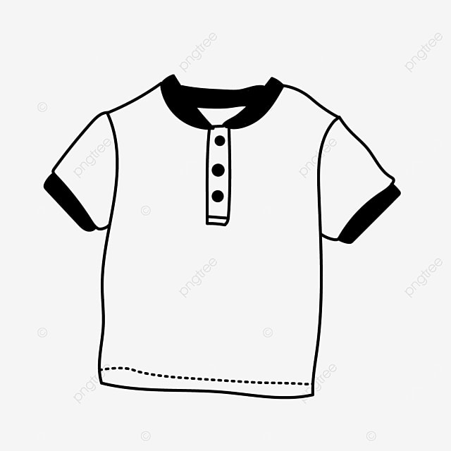 short sleeve button summer shirt clipart black and white