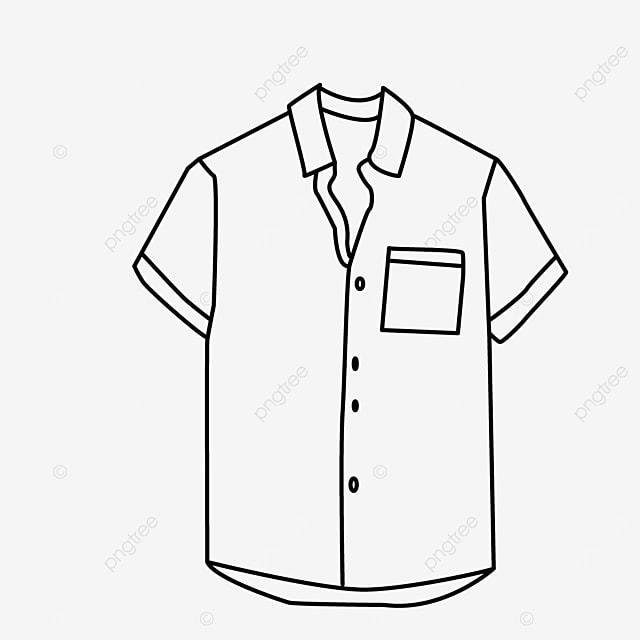 short sleeve lapel shirt clipart black and white