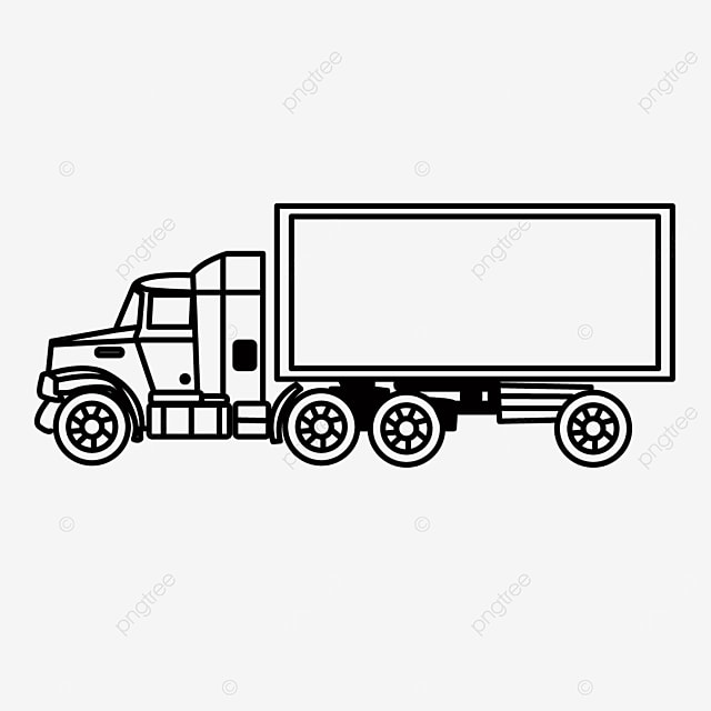 side driving large car truck clipart black and white