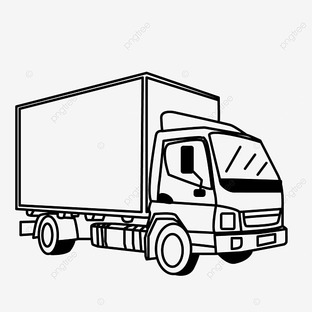 side transport van container truck clip art black and white