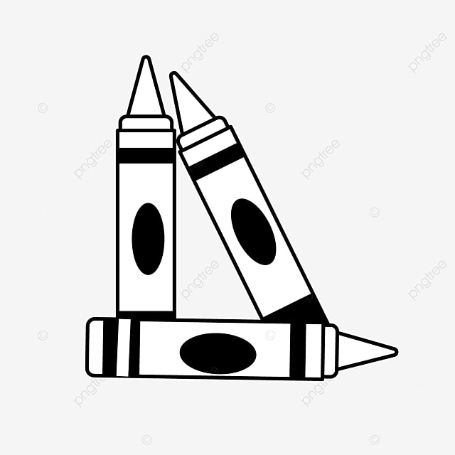 standing upright by placing stationery painting crayons clipart black and white
