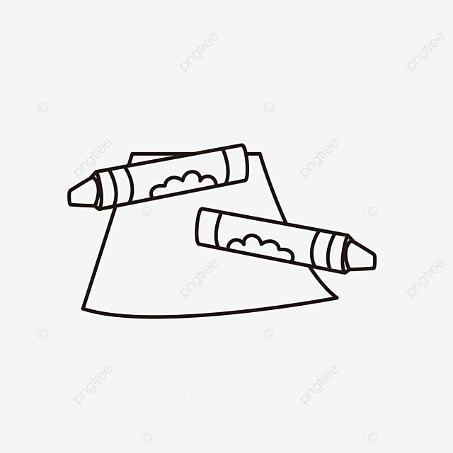 stationery paper pen painting items crayons clipart black and white