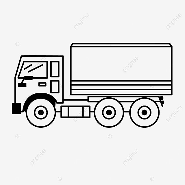 transport mode delivery car truck clipart black and white