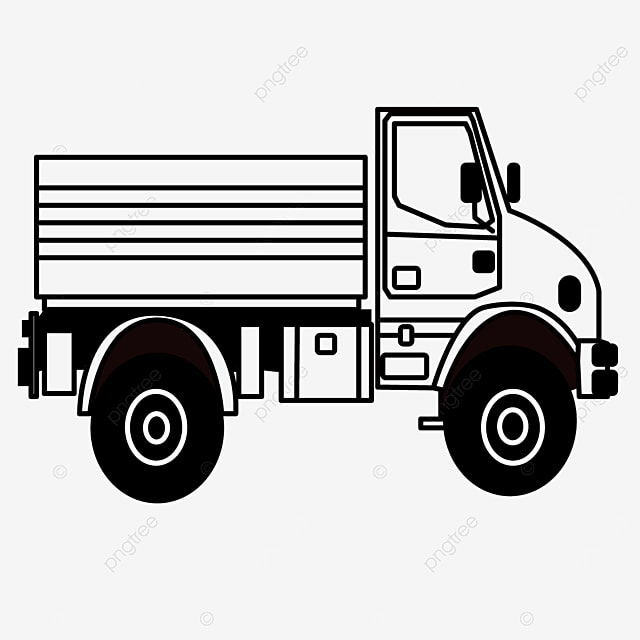 transportation mode truck clipart black and white