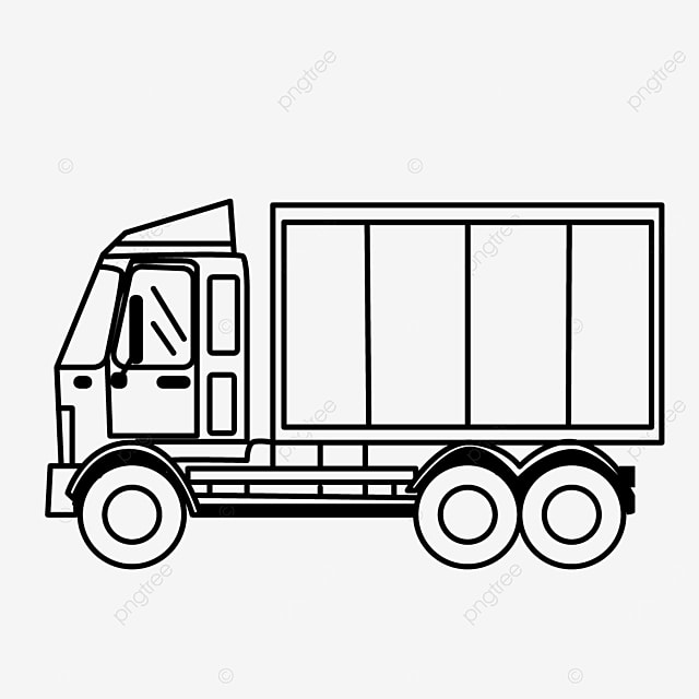 transportation mode truck road driving truck clipart black and white