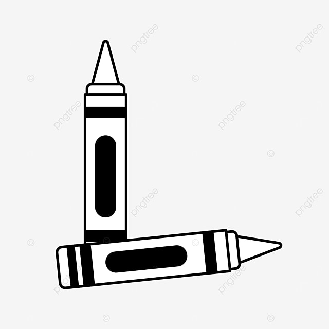 two paint painting crayons clipart black and white