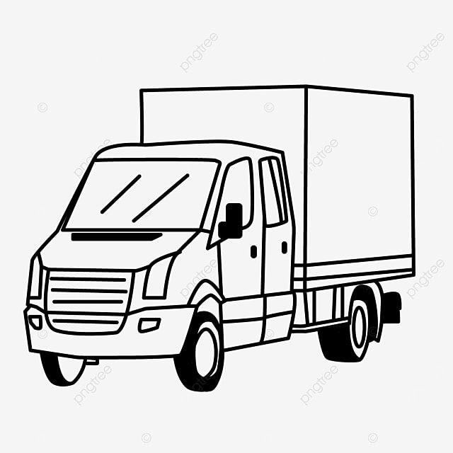 wheel driving delivery van truck clipart black and white