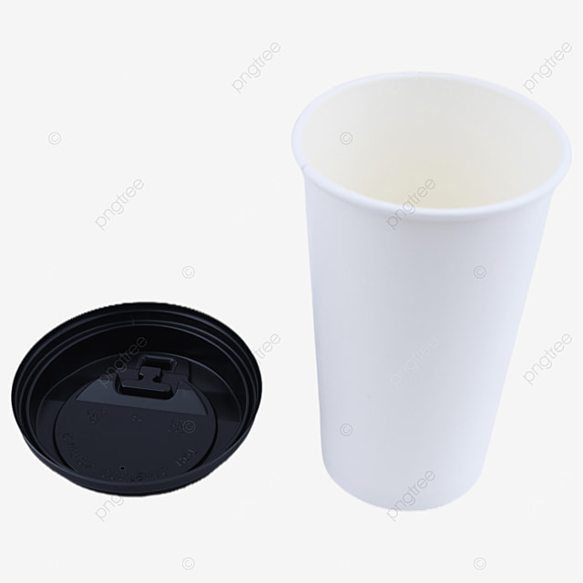 white paper cup with plastic lid