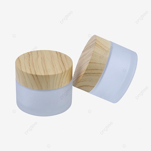 wood grain cover glass cosmetic sample bottle