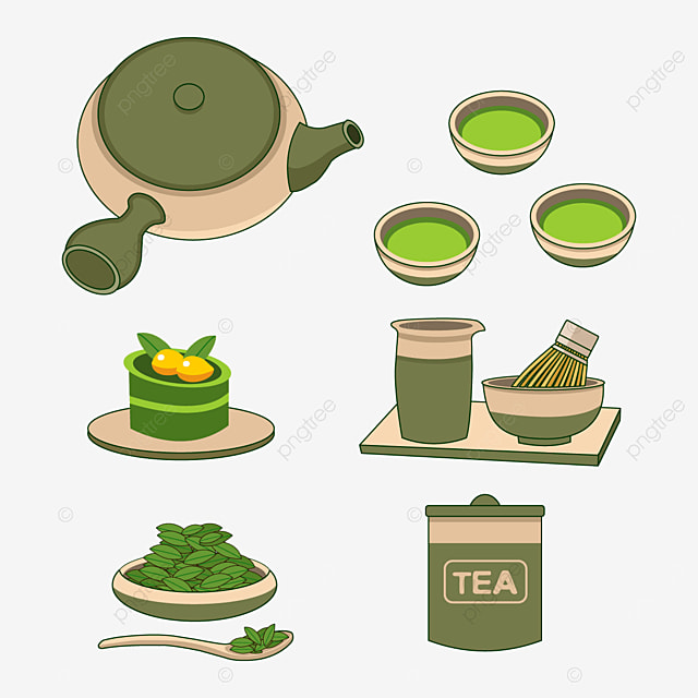 beige and green japanese teapots and cups