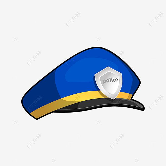 blue bright police cap clipart