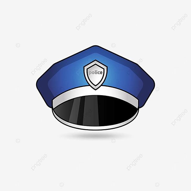 blue police cap clipart