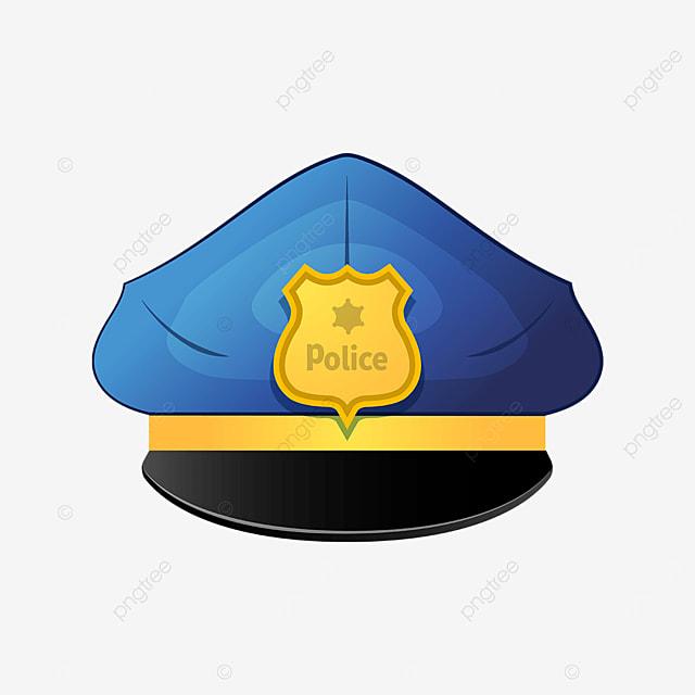 blue police cap with golden badge clip art