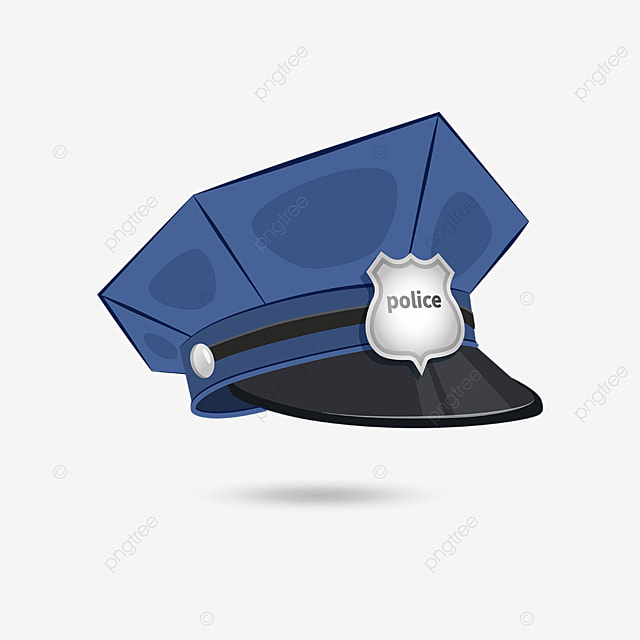 blue police cap with silver badge clip art