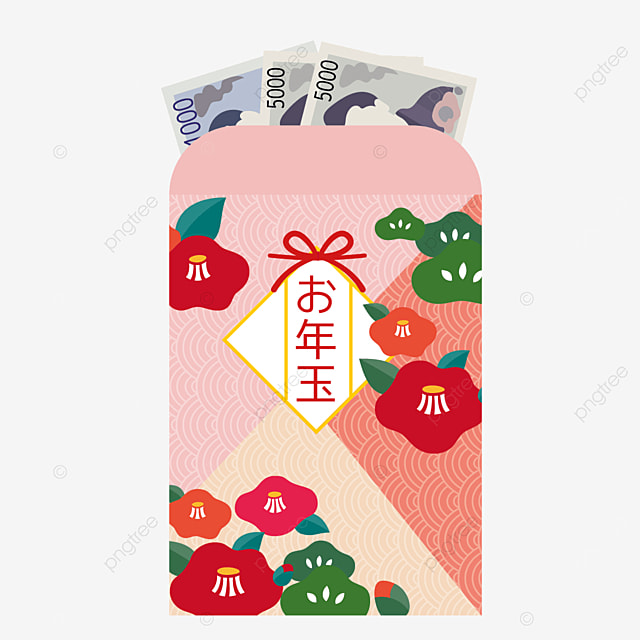camellia traditional pattern japanese new year red envelope
