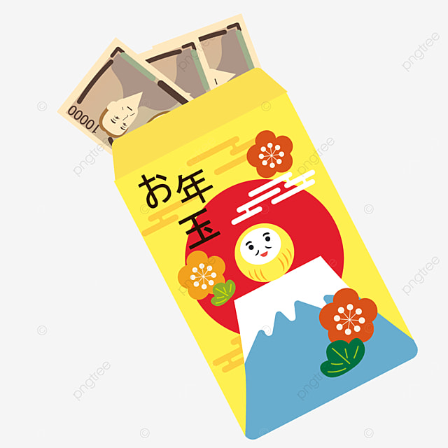 cartoon daruma sakura yellow japanese new year red packet