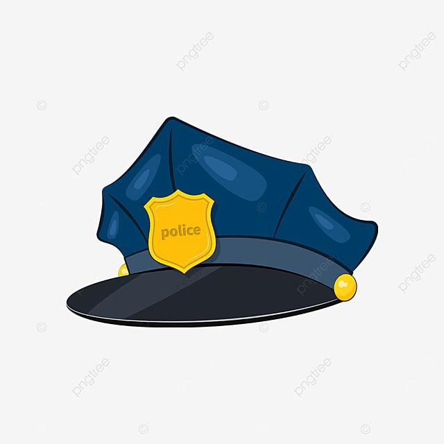 dark blue golden police cap clipart