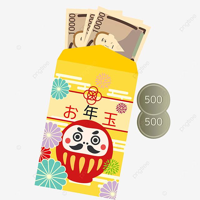 daruma cute cartoon traditional japanese new year red envelope