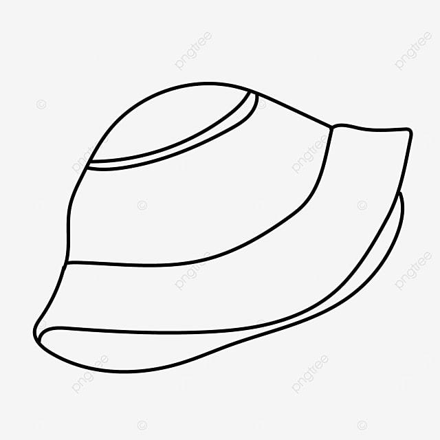 fisherman hat visor protective head hat clipart black and white