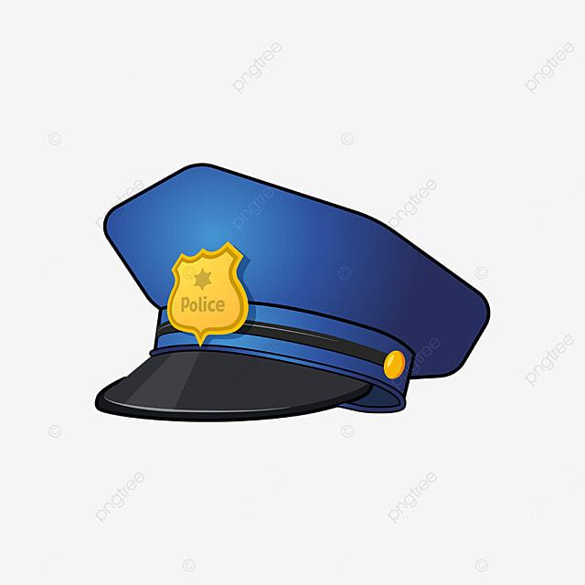 golden blue police cap clipart
