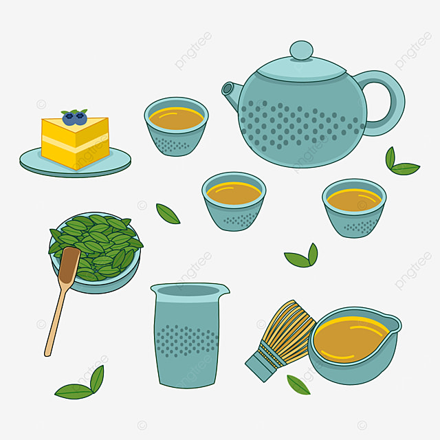 japanese teapot and cup with blue polka dot pattern