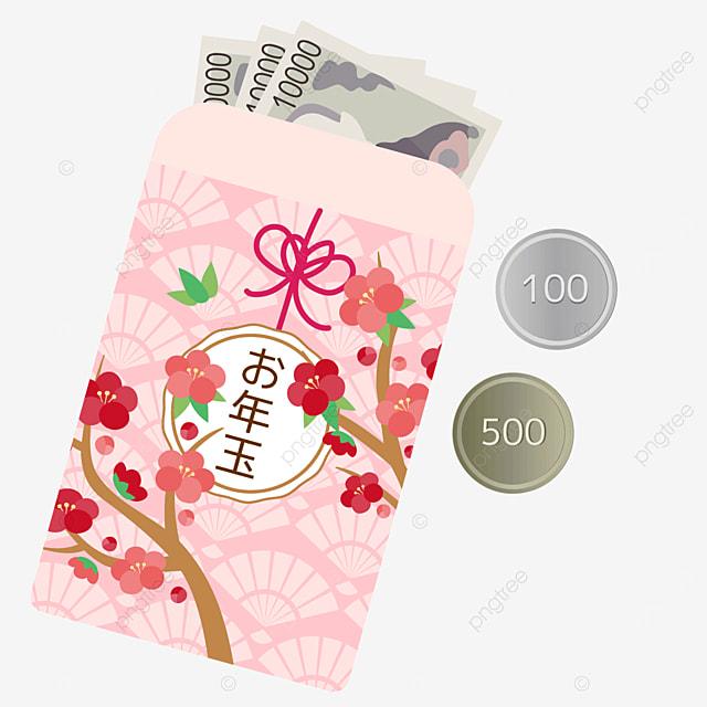 pink sakura traditional japanese new year red envelope