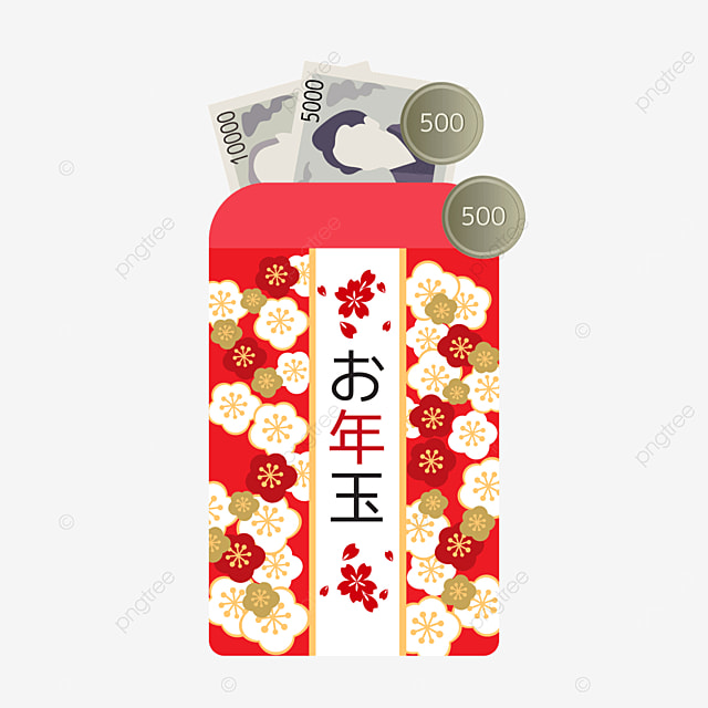 red cherry blossom japanese new year red envelope