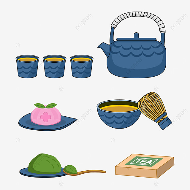 set of blue japanese teapots and cups