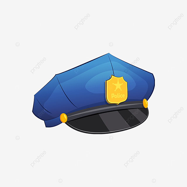 showy blue police cap clipart