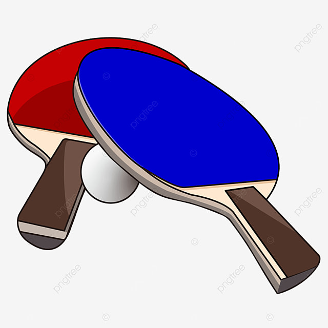 side pair of red and blue table tennis clipart