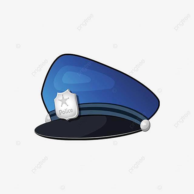 silver badge blackout blue police cap clipart