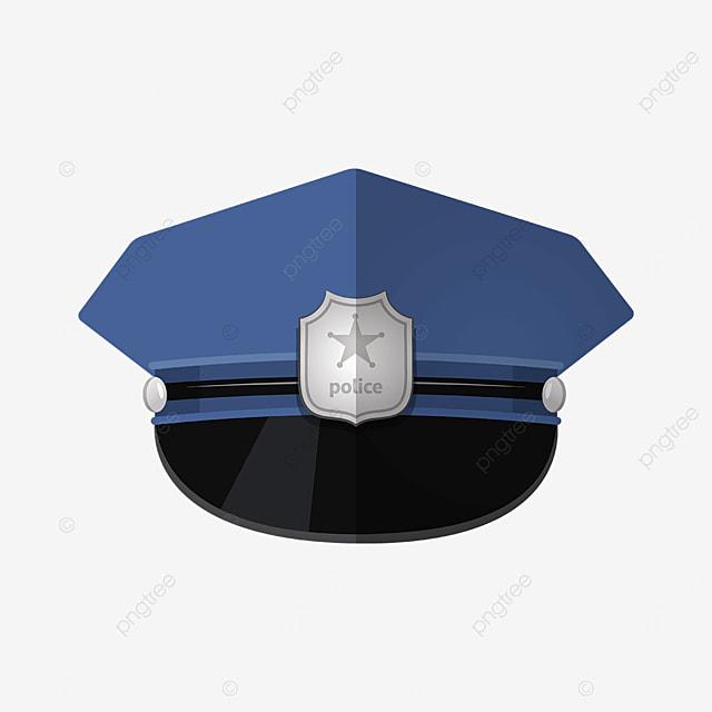 tough blue police cap clipart